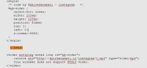 قرار دادن کد ویدئو بعد از تگ head